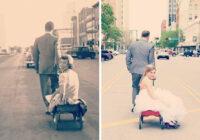 FOTO: Satriecoša līdzība: cilvēki atveido vecvecāku fotogrāfijas